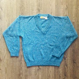 VTG 80s Southern Classics Blue White Knit Sweater
